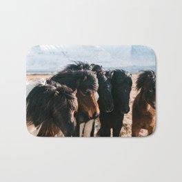 Horses in Iceland - Wildlife animals Bath Mat