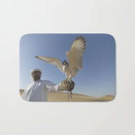 Falconer With Hooded Falcon In The Desert Bath Mat