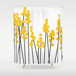 Hello Spring! Yellow/Black Retro Plants on White #decor #society6 #buyart Shower Curtain