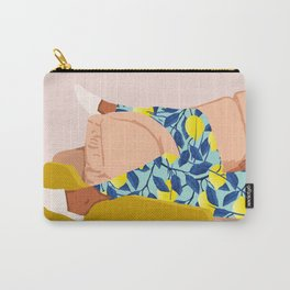 Casual Sunday, Modern Bohemian Eclectic Lemon, Tropical Black Woman Fashion Blush Décor Illustration Carry-All Pouch