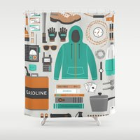 kit king Shower Curtains featuring Zombie Survival Kit by Zeke Tucker