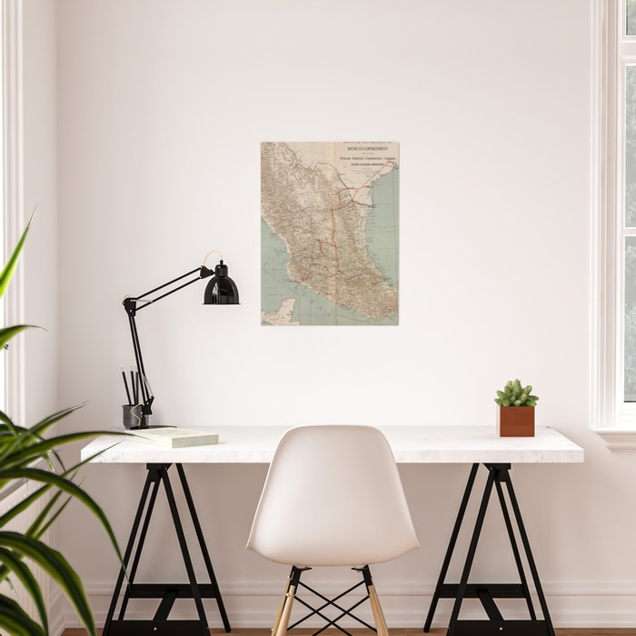 Vintage Mexico Railroad Map (1881) Poster