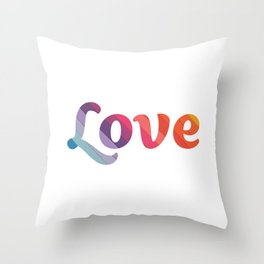 Rainbow Love (Letters) Throw Pillow