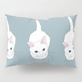 Kitty cat Illustrated Print White Pink Blue Pillow Sham