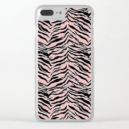 Tiger Print - Blush Peach Clear iPhone Case