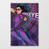 kate bishop Canvas Prints featuring Kate Bishop by Emily Doyle