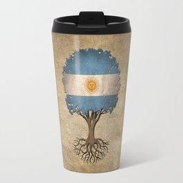Vintage Tree of Life with Flag of Argentina Travel Mug