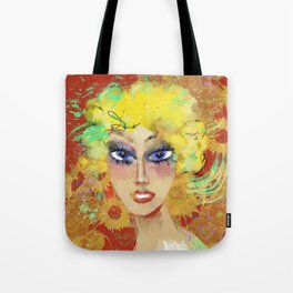 Lora with sunflowers Tote Bag