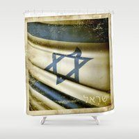 sticker Shower Curtains featuring Israel grunge sticker flag by Lulla