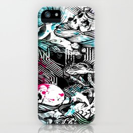 Skulls and fish repeat pattern. iPhone Case