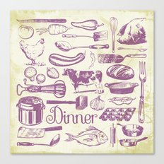 Retro Dinner - Aged Canvas Print