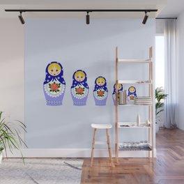 Blue russian matryoshka nesting dolls Wall Mural