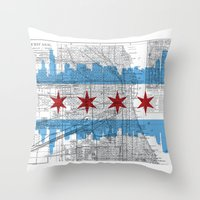 chicago map Throw Pillows featuring Chicago Map  by Kasi Turpin