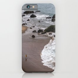 Child Running into the Ocean in California, Travel Beach Photography, San Francisco iPhone Case