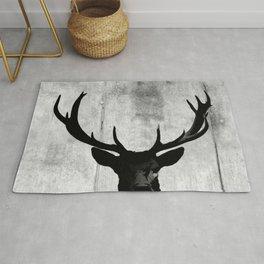 Industrial Black Deer Silhouette A313 Rug