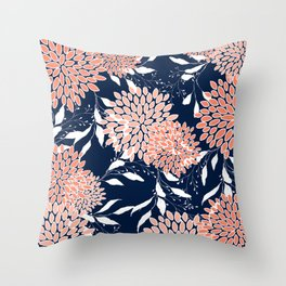 Floral Prints and Leaves, Navy, Coral and White Throw Pillow
