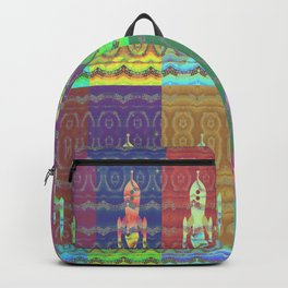 Twelve Colorful Space Rockets Backpack