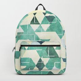 Abstract Green Triangles, Watercolor Pattern Backpack