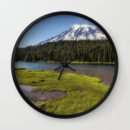 Mt Rainier from Reflection Lake, No. 2 Wall Clock