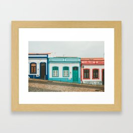 Turquoise Blue and Red Houses in Lagos, Portugal Framed Art Print