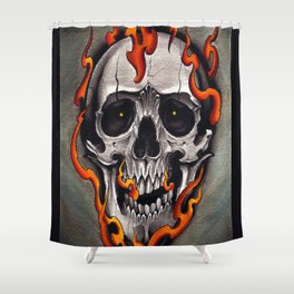 Skull in Flames Shower Curtain