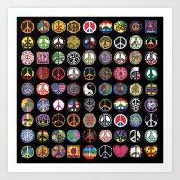 PEACE PATCH COLLECTION (black) Art Print