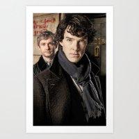 sherlock Art Prints featuring Sherlock  by SB Art Productions