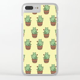 Cactus Cats (Yellow) Clear iPhone Case