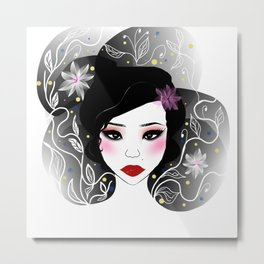 Asian girl illustration Metal Print