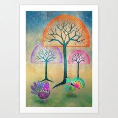 Moon Bird Forest Art Print