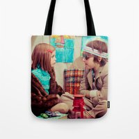 tenenbaum Tote Bags featuring Tenenbaum by Malice of Alice