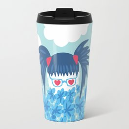 Geek Girl With Heart Shaped Eyes And Blue Flowers Travel Mug