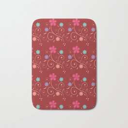 Flowers in red Bath Mat