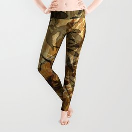 Golden Leaf Shadows Abstract Leggings