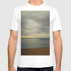 Barcelona beach White Mens Fitted Tee MEDIUM