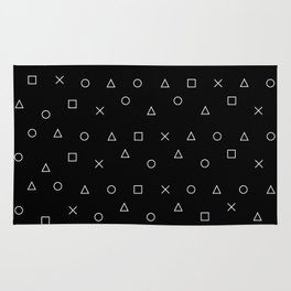 black gaming pattern - gamer design - playstation controller symbols Rug