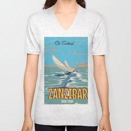 Zanzibar vintage style travel poster Unisex V-Neck
