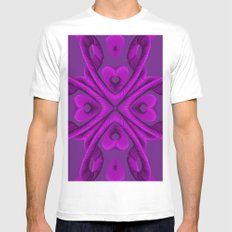 Hot Pink Hearts Mens Fitted Tee MEDIUM White