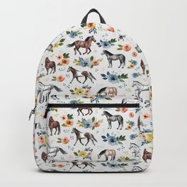 Horses and Flowers, Floral Horses, Western, Horse Art, Horse Decor, Gray Backpack