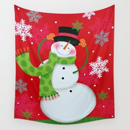 Happy Snowman Wall Tapestry