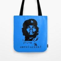 dodgers Tote Bags featuring Yasiel Puig - Viva LA Revolucion! by Adrian Mentus