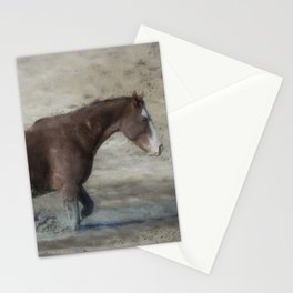 Mustang Getting Out of a Muddy Waterhole the Slow Way painterly Stationery Cards