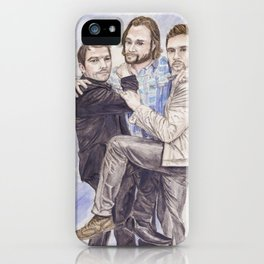 Team Free Will: Misha Collins; Jared Padalecki and Jensen Ackles, watercolor painting iPhone Case