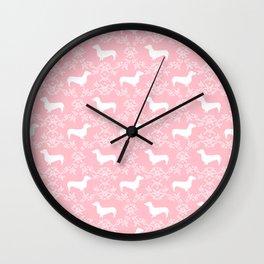 Dachshund pink florals pet portrait dog art dachsie doxie pet art dog breeds Wall Clock