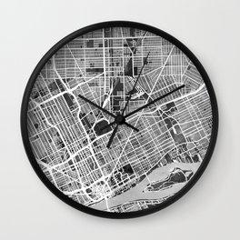 Detroit Michigan City Map Wall Clock