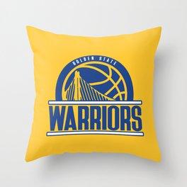 Warriors vintage basketball logo Throw Pillow