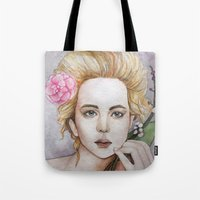jennifer lawrence Tote Bags featuring Jennifer Lawrence  by Giulia Colombo