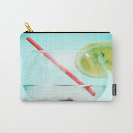 Cocktail with lemon slice, cherry and a straw Carry-All Pouch