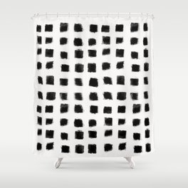 Polka Strokes - Black on Off White Shower Curtain