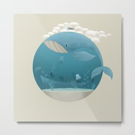 Seagull rest over whale Metal Print